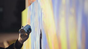 Adult Male Graffiti Artist Paint Spraying the Wall, Urban Outdoors Street Art Concept, Handheld. 1920x1080 toned HD footage stock video footage