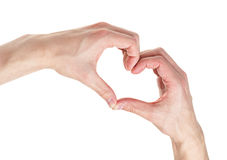 Adult male hands shows heart shape Stock Photography