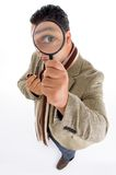 Adult male with magnified eye Stock Photo