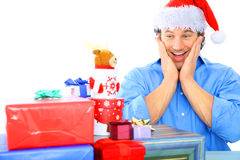 Adult Male Shocked With So Many Gift royalty free stock photos