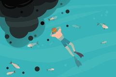 Adult male snorkeling in a polluted sea, oil spill. royalty free illustration