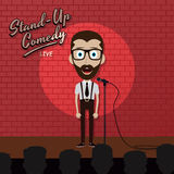 Adult male stand up comedian cartoon character on red brick stage with spotlight Stock Photos