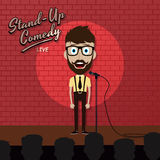 Adult male stand up comedian cartoon character on red brick stage with spotlight Royalty Free Stock Images