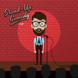 Adult male stand up comedian cartoon character on red brick stage with spotlight Stock Image