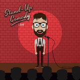 Adult male stand up comedian cartoon character on red brick stage with spotlight Royalty Free Stock Image