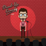 Adult male stand up comedian cartoon character on red brick stage with spotlight Stock Images