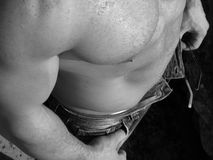 Adult male torso. Black and white closeup of an adult male torso, high angle view Stock Photo