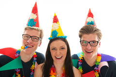 Adult male twins birthday with girl Royalty Free Stock Photography