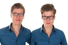 Adult male twins. Identically adult male twins in studio Royalty Free Stock Image