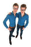 Adult male twins. Identically adult male twins in studio Royalty Free Stock Images