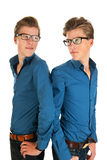 Adult male twins. Identically adult male twins in studio Stock Image