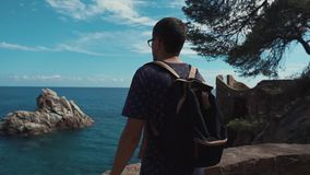 Male tourist is enjoying view on sea and basalt rocks in summer day on a coast. Adult man is admiring beautiful seascape in sunny day, back view. He is standing stock video footage