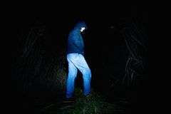 Adult man in blue wearing looking for something in wet grass with light in hand. Scary or fairytale night stock photos