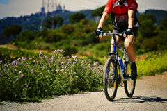 Adult man in bright sportswear riding a mountain b Royalty Free Stock Image