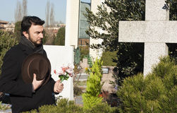 Adult Man at Cemetery Stock Photography