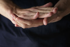 Adult man clasped hands Royalty Free Stock Images