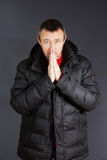 Adult man dressed in black jacket Royalty Free Stock Photos