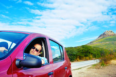 Adult man is driving his car Royalty Free Stock Photo
