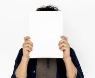 Adult Man Face Coverd Paper Portrait Copy Space. Adult Man Face Coverd Paper Portrait Royalty Free Stock Photography
