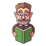 An adult man with glasses and a mustache is reading a book. vector illustration