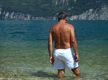 Adult man going for a swim Royalty Free Stock Photography