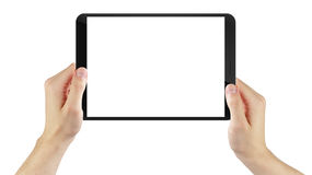 Adult man hand holding generic tablet pc with Stock Photo