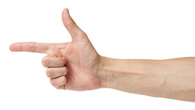 Adult man hand shows angle Stock Photo