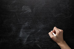 Adult man hand to draw something on blackboard Royalty Free Stock Photos