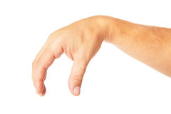 Adult man hand to hold something isolated on white. This image has attached release royalty free stock photos