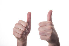 Adult man hands shows thumbs up, isolated on white Stock Photos