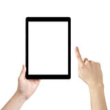 Adult man hands using generic tablet pc with white screen Royalty Free Stock Photos