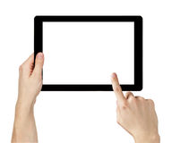 Adult man hands using generic tablet pc with white screen Royalty Free Stock Images