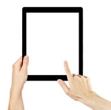 Adult man hands using generic tablet pc with white screen Stock Image