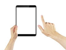 Adult man hands using tablet pc with white screen. Isolated on white Stock Photos