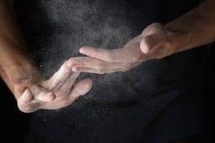 Adult man hands work with flour Stock Photos