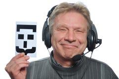 Adult man in headphones Stock Photo