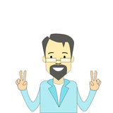 Adult Man Hipster Hand Point Two Finger Up Peace Gesture Stock Photography
