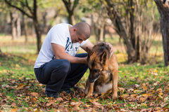Adult Man With His Dog Royalty Free Stock Photo