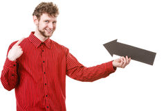 Adult man holding arrow. Stock Photography