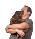 Adult man is holding his sweet puppy isolated on white backgroun Stock Image