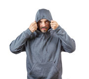 Adult man in hoody Royalty Free Stock Images