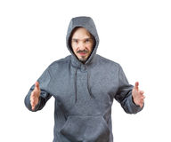 Adult man in hoody Stock Images