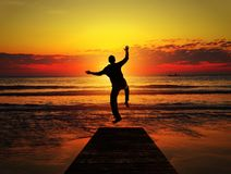 Adult man jumps off the pier Stock Photography
