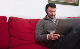 Adult Man with Laptop Stock Photo