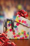 Adult man lies in present box Royalty Free Stock Images