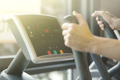 Adult Man Making Cardio Training Exercises in Gym Club. Man Sportsman Making Exercises Cardio Training Running Gym Fitness in Training Club DayLight Healthy Life Stock Photos