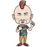 Mohawk Hairstyle Man Character. Adult Man, Mohawk Hairstyle, thick lips. He wears brown polo shirt, light brown jeans Stock Image