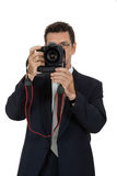 Adult man photographer with digital camera dslr isolated Royalty Free Stock Photography
