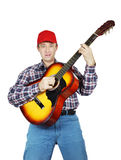 Adult man playing a guitar Stock Photo