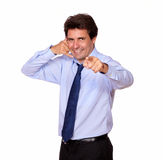 Adult man pointing at you gesturing call me Stock Images